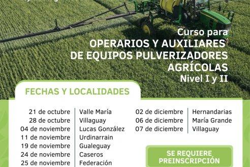 Curso para operarios de equipos pulverizadores agrícolas nivel I y II